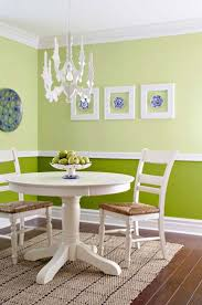 Green Wall Paint And White Picture Frames Are Modern Dining Room Decoration Ideas
