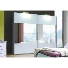 chambre avec meuble blanc armoire 2 portes coulissantes verona blanche laquée avec miroirs