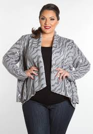 glamouros patterned plus size tops sequin cardigan swak