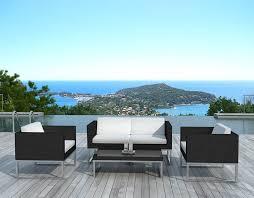 canapé de jardin design salon de jardin design 4 places en résine coussins écru