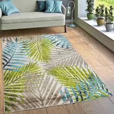 designer teppich wohnzimmer jungle palmen design braun beige grün blau