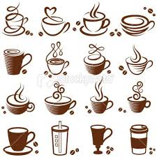 Coffee Cup Vector White Icon Set Royalty Free Stock Art Illustration