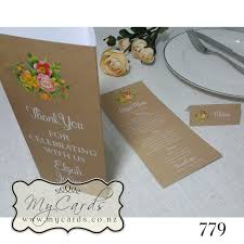 Kraft Wedding Stationery Rustic Menu Table Number Placecard Auckland Nz 779