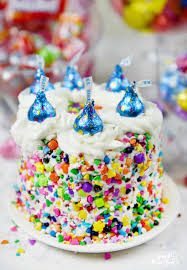 Sprinkle Cake with HERSHEY S KISSES Birthday Cake Can s