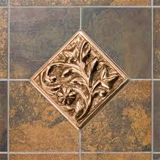 Copper Tiles For Backsplash by Solid Copper Wall Tile With Flower Design Kitchen