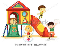 Playground Clipart Illustration Of Many Children Playing On A Slide Free