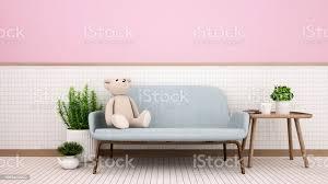 wohnzimmer im haus oder auf weißer keramik und rosa wand dekorieren teddybär auf blauem sofa und relaxbereich im wohnzimmer oder in der lobby 3d
