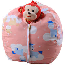 THEE Canvas Stuffed Animal Storage Bean Bag Chair Kids Plush Toy Clothes  Quilts Organizer (26