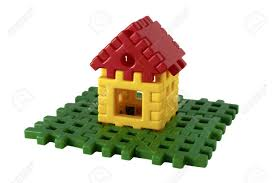 100 Small Lego House Isolated And Lawn From The Childrens Constructor Stock