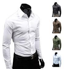 best s5q men luxury casual slim fit stylish long sleeve dress
