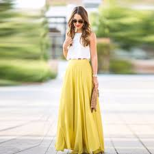 popular yellow floor length chiffon skirt buy cheap yellow floor