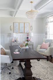 10 Dining Room Office Chic And Girly Home With Farmhouse Trestle Table Diy Gold Chandelier