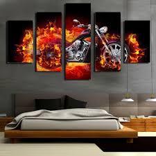 5 teilig wandbild gemälde beschleunigen sie das feuern motorrad hochwertiger leinwand bilder moderne kunstdruck als ölbild für zuhause wohnzimmer