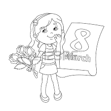 Coloring Page Outline Of Beautiful Girl With Bouquet Roses In His Hand A Calendar