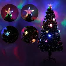 Snowflakes Christmas Tree Decorative Indoor Outdoor LED Color Changing Artificial Fiber Optic Lights Tall US Plug In Trees From Home Garden On