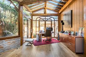 Exquisite Rustic Sunroom That Doubles As A Quiet Home Office From Alexandre Montagne