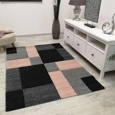 moderner teppich kariert rosa schwarz weiss teppich muster vimoda homestyle