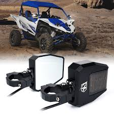 UTV Roll Bar Cage Side Mirrors With LED Spot Lights And Smoke Lens