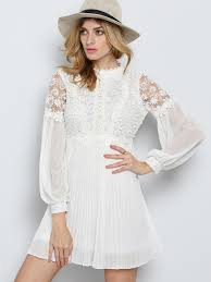white long sleeve embroidered bead lace dress shein sheinside