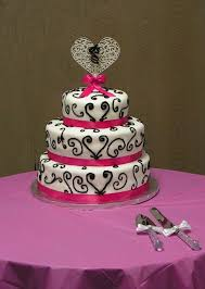 Image of Black And White And Pink Wedding Cakes