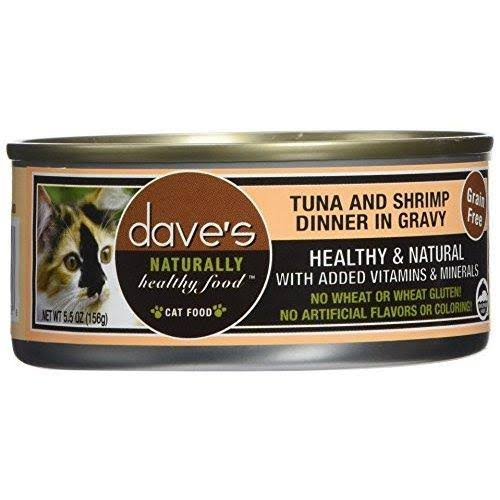 Dave's Naturally Healthy Grain Free Canned Cat Food Tuna & Shrimp Dinner in Gravy