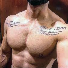 Roman Numeral Mens Upper Chest Tattoo With Quote