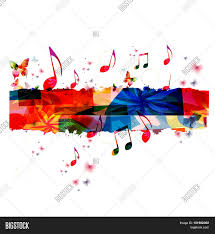 Creative Music Template Vector Illustration Colorful Notes Background Musical Design
