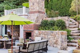 Outdoor Brick Fireplace Transitional Deck patio Elizabeth