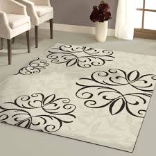 White Black Floral 8x10 Area Rugs Cheap For Floor Covering Idea