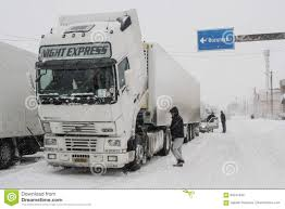 Truck In Snow Storm On Road Editorial Image - Image Of Truck, Drive ...