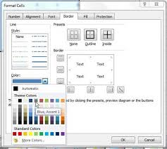 Choose Excel 2010 Cell Border Color