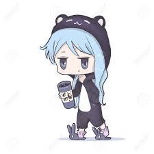 Cute Vector Illustrationake Up And Drink Coffee Kawaii Anime Girl Big Eyes