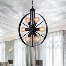 retro rad deckenleuchte vintage runde 5 flammen deckenleuchte antikes industrie ringdesign kreative dekorative deckenstrahler für wohnzimmer