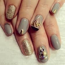 Grey And Gold Nail Designs s and for