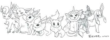 Pokemon Eevee Coloring Pages Evolution All Evolutions Glaceon