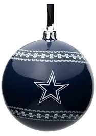 Dallas Cowboys Tree Topper 3 Ugly Sweater Ball Ornament
