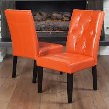Set Of 2 Contemporary Orange Leather Dining Chair W/ Tufted ... Ding Room Chair Leather Design Optic Upholstered Chair Retro Cognac Brown Beige 2er Set Amazing Rooms Chairs Set Cushions Table Michael Anthony Fniture Burnt Orange Oak Nyekoncept Mid Century Eiffel Side Amazoncom Cjc Of 2 Faux Kitchen Chairsbrown Art Deco St030 Transitional Midcentury Modern Dering Hall Mediterrean With Hand Painted Hgtv Christopher Knight Home 298997 Anise Of Green Tea With Casters