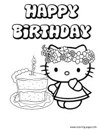 Hello Kitty Single Cake Birthday Coloring Pages