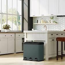 mülleimer für die küche 54 liter abfalleimer treteimer mit 3 fächern inneneimern und 6 aufklebern für mülltrennung mülltrennsystem grau schwarz