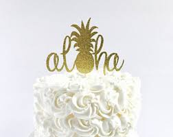 Aloha Cake Topper Tropical Party Toppers Pineapple Wedding Bridal Shower
