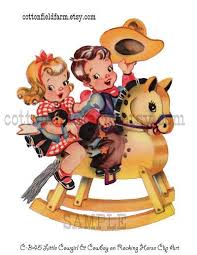 Vintage Cowboy And Cowgirl Clipart