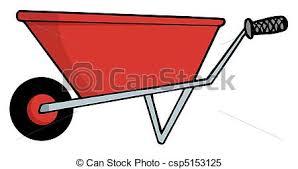 Red Gardening Wheel Barrow csp