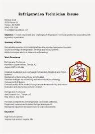 Resume Samples Refrigeration Technician Sample For Hvac Examples