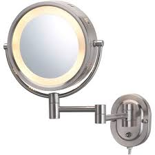 jerdon 8 2 sided swivel halo lighted wall mount mirror with 5x