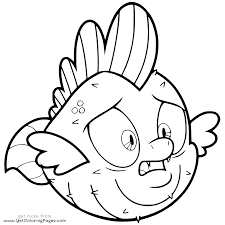 My Little Pony The Movie Coloring Page Spike Pufferfish