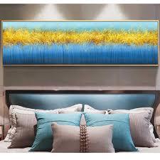 wangart nordic poster leinwand drucken blau gold schlafzimmer decor abstrakte wand bild für wohnzimmer leinwand wandbild moderne einfache zimmer