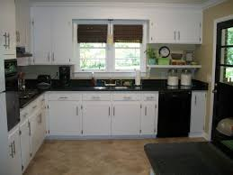 White Kitchen Cabinets And Black Appliances Cupboards With Marble Worktops Cabinet Design Brown Granite Countertops Sparkle Tile Best For Gray Countertop