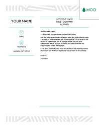 Creative cover letter designed by MOO fice Templates