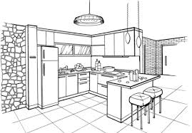 Click To See Printable Version Of Kitchen In Minimalist Style Coloring Page