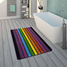 bath mat pile 3d stripe pattern colourful